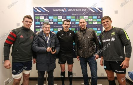 Saracens vs Munster. Munster's Peter O'Mahony, Referee Pascal Gauzere and Saracens' Owen Farrell with Heineken guests Richard Edwards and Peter Mather at the coin toss