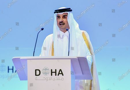 Emir of Qatar Sheikh Tamim bin Hamad Al-Thani, delivers a speech during the opening session of the Doha Forum at Sheraton Grand Doha Resort & Convention Hotel in Doha, Qatar, 14 December 2019. The Doha Forum, a global platform for dialogue gathering world leader and policy makers among others to build innovative and action driven networks, runs on 14 and 15 December.