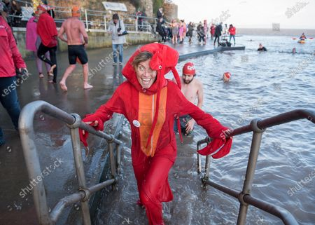 Lindsey Cole dressed as a lobster swims as part of the Icebreaker challenge to raise money for homeless charity Crisis holding its first Icebreaker Challenge in the Bristol area, with fundraisers in fancy dress swimming in the cold waters of Clevedon's Marine Lake. The event was opened by adventurer and outdoor swimmer Lindsey Cole, who this December is walking along the south coast path to Bristol, encouraging others to join her swimming in the sea for the homeless. Crisis is a national charity for homeless people which helps people directly out of homelessness and campaigns for the social changes needed to solve it altogether. Crisis provides services across Britain with help for people experiencing homelessness all year round.