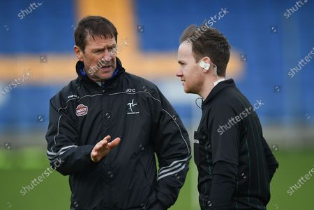 Stock Image of Wicklow vs Kildare. Kildare manager Jack O'Connor speaks to referee Dan Stynes before the match