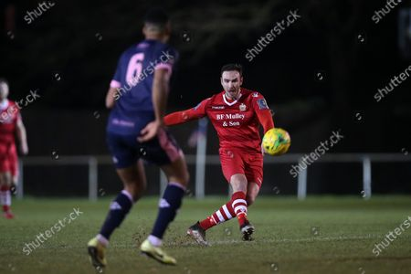 Matt Johnson of Hornchurch goes close with a long range effort during Hornchurch vs Dulwich Hamlet, Buildbase FA Trophy Football at Hornchurch Stadium on 14th December 2019