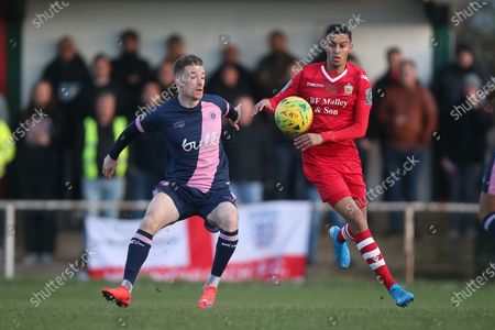 Jack Connors of Dulwich and George Saunders of Hornchurch during Hornchurch vs Dulwich Hamlet, Buildbase FA Trophy Football at Hornchurch Stadium on 14th December 2019