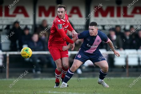 Dylan Kearney of Dulwich and Matt Johnson of Hornchurch during Hornchurch vs Dulwich Hamlet, Buildbase FA Trophy Football at Hornchurch Stadium on 14th December 2019
