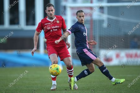 Matt Johnson of Hornchurch and Lewis White of Dulwich during Hornchurch vs Dulwich Hamlet, Buildbase FA Trophy Football at Hornchurch Stadium on 14th December 2019