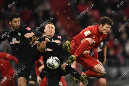 Bremen's Nuri Sahin (L-R), Bremen's Ludwig Augustinsson and Bayern's Benjamin Pavard vie for the ball during the German Bundesliga soccer match between FC Bayern Munich and SV Werder Bremern in Munich, Germany, 14 December 2019.