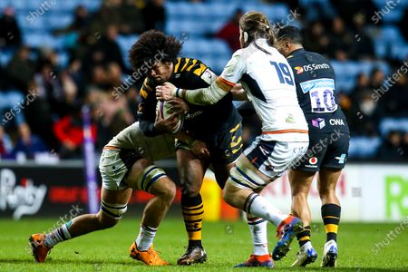 Stock Photo of Ashley Johnson of Wasps is tackled