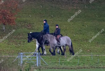 Prince Andrew out riding today in the grounds of Windsor castle Home park