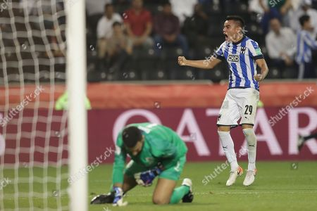 Monterrey's Carlos Rodriguez celebrates his team\s thrid goal during the Club World Cup soccer match between Monterrey and Al-Sadd at Jassim Bin Hamad Stadium in Doha, Qatar