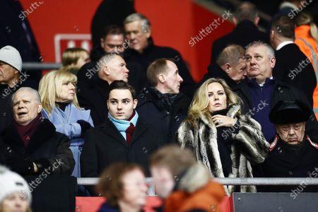 West Ham owners David Gold and David Sullivan with son Jack Sullivan.