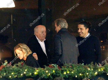 Inditex founder Amancio Ortega (C), his wife Flora Perez (L) and his son-in-law Carlos Torretta (R) attend the 39th International Jumping Contest competition at Casas Novas hippodrome in Arteixo, northwest Spain, 14 December 2019.