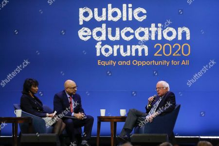 Stock Photo of Democratic presidential candidate Sen. Bernie Sanders, I-Vt., one of seven scheduled Democratic candidates participating in a public education forum, right, answers questions from Rehema Ellis, left, and Ali Velshi, center, in Pittsburgh. Topics at the event planned for discussion ranged from student services and special education to education equity and justice issues