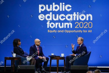 Stock Image of Democratic presidential candidate, investor Tom Steyer, right, one of seven scheduled Democratic candidates participating in a public education forum, answers a question from Ali Velshi, center, and Rehema Ellis, left, in Pittsburgh. Topics at the event planned for discussion ranged from student services and special education to education equity and justice issues
