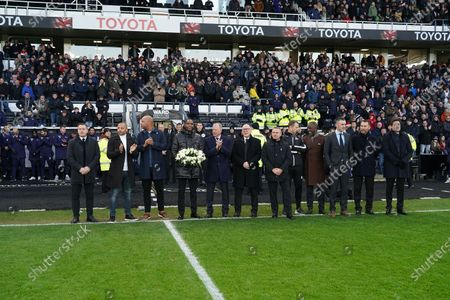 Former players, Rob Kozluk, Daryl Powell, Deon Burton, Matt Carbon, Steve McClaren, chairman Mel Morris, Paul Simpson, Gary Rowett, Darren Wassall, Chris Powell, Christian Dailly and CEO Stephen Pearce  pay tribute to former manager, Jim Smith