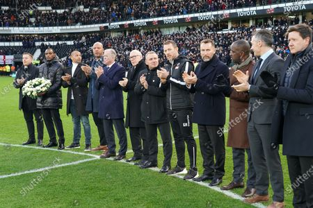 Stock Photo of Former players, Rob Kozluk, Daryl Powell, Deon Burton, Matt Carbon, Steve McClaren, chairman Mel Morris, Paul Simpson, Gary Rowett, Darren Wassall, Chris Powell, Christian Dailly and CEO Stephen Pearce  pay tribute to former manager, Jim Smith