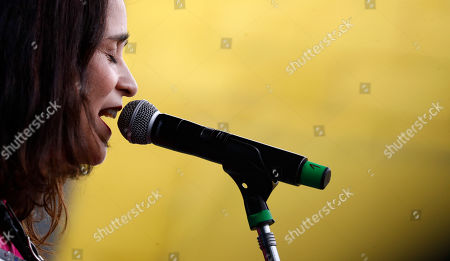 """Mexican singer-songwriter Julieta Venegas performs during the """"Girl Power"""", a music festival that features female solo artists or women-fronted bands, in Buenos Aires, Argentina, . A law approved by Argentina's Congress last month says that beginning in 2020, women artists must make up at least 30% of the lineup in musical events with three or more acts"""