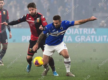 Genoa's Lasse Schone (L) in action against Sampdoria's Karol Linetty (R) during the Italian Serie A soccer match between Genoa CFC and UC Sampdoria at the Luigi Ferraris stadium in Genoa, Italy, 14 December 2019.