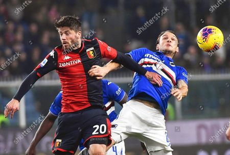 Genoa's Lasse Schone (L) in action against Sampdoria's Albin Ekdal (R) during the Italian Serie A soccer match between Genoa CFC and UC Sampdoria at the Luigi Ferraris stadium in Genoa, Italy, 14 December 2019.