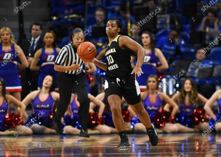 Stock Picture of Courtney Lee (10) of the Alabama State Lady Hornets throw a pass down court during the non-conference NCAA game between DePaul vs Alabama State at Wintrust Area in Chicago, Illinois
