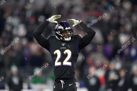 Stock Photo of Baltimore Ravens cornerback Jimmy Smith (22) gestures during the second half of an NFL football game against the New York Jets, in Baltimore