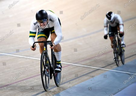 Stock Image of Australia's Matthew Glaetzer in action during the men's sprint event at the Tissot UCI Track Cycling World Cup at the Anna Meares Velodrome in Brisbane, Australia, 15 December 2019.