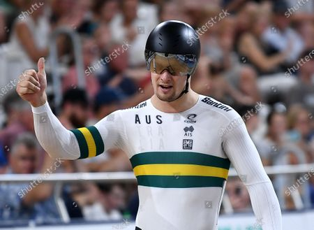 Stock Photo of Australia's Matthew Glaetzer gestures after the men's sprint event at the Tissot UCI Track Cycling World Cup at the Anna Meares Velodrome in Brisbane, Australia, 15 December 2019.
