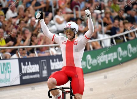 Stock Picture of Poland's Rudyk Mateusz celebrates taking the gold in the men's sprint event at the Tissot UCI Track Cycling World Cup at the Anna Meares Velodrome in Brisbane, Australia, 15 December 2019.