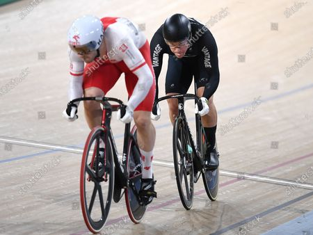 New Zealand's Sam Webster (R) races Poland's Rudyk Mateusz to take the silver in the men's sprint event at the Tissot UCI Track Cycling World Cup at the Anna Meares Velodrome in Brisbane, Australia, 15 December 2019.