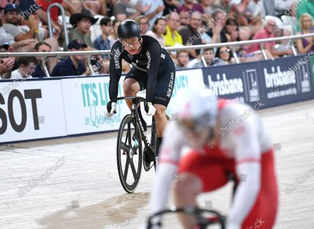 New Zealand's Sam Webster is seen after taking the silver in the men's sprint event at the Tissot UCI Track Cycling World Cup at the Anna Meares Velodrome in Brisbane, Australia, 15 December 2019.