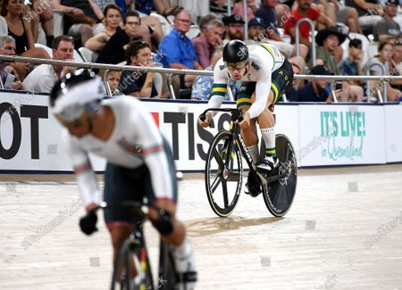 Australia's Matthew Glaetzer (R) eyes off Suriname's Jair En Fa Tjon (L) during the men's sprint event at the Tissot UCI Track Cycling World Cup at the Anna Meares Velodrome in Brisbane, Australia, 15 December 2019.