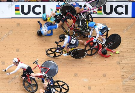 Riders crash during the women's Omnium Scratch race at the UCI Track Cycling World Cup at the Anna Meares Velodrome in Brisbane, Australia, 15 December 2019.