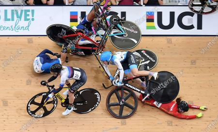 Riders crash during the women's Omnium Scratch race at the Tissot UCI Track Cycling World Cup at the Anna Meares Velodrome in Brisbane, Australia, 15 December 2019.
