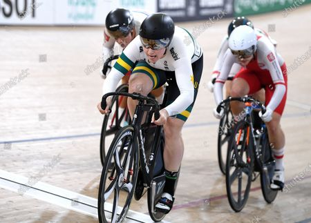 Stephanie Morton (C) of Australia leads the field in the women's Keirin event at the UCI Track Cycling World Cup at the Anna Meares Velodrome in Brisbane, Australia, 15 December 2019.