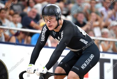 New Zealand's Sam Webster is seen after winning the men's sprint semifinal event at the Anna Meares Velodrome in Brisbane, Australia, 15 December 2019.