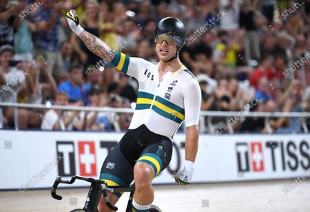 Australia's Sam Welsford celebrates winning the men's Madison 50km race with teammate Cameron Meyer at the Tissot UCI Track Cycling World Cup at the UCI Track Cycling World Cup at the Anna Meares Velodrome in Brisbane, Australia, 15 December 2019.