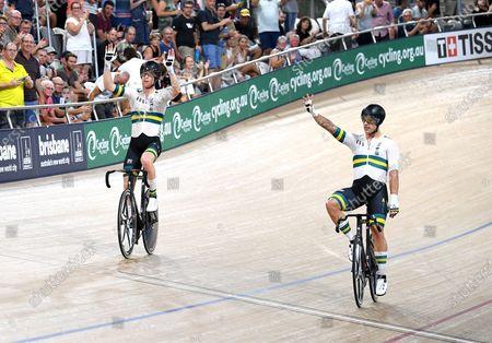 Australia's Sam Welsford (R) celebrates winning the men's Madison 50km race with teammate Cameron Meyer (L) at the Tissot UCI Track Cycling World Cup at the UCI Track Cycling World Cup at the Anna Meares Velodrome in Brisbane, Australia, 15 December 2019.
