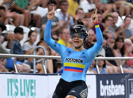 Colombia's Martha Bayona Pineda celebrates taking the gold in the women's Keirin final event at the Tissot UCI Track Cycling World Cup at the Anna Meares Velodrome in Brisbane, Australia, 15 December 2019.