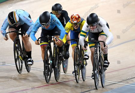 Colombia's Martha Bayona Pineda (2-L) and Australia's Stephanie Morton (R) race to the finish line in the women's Keirin final event at the Tissot UCI Track Cycling World Cup at the Anna Meares Velodrome in Brisbane, Australia, 15 December 2019.