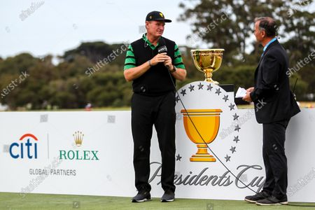 Ernie Els of South Africa and the International team speaks during the presentation ceremony of the 2019 Presidents Cup