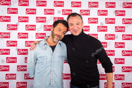 Christophe Mae poses for photograph with Alexandre Devoise