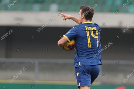 Verona's Valerio Verre jubilates after scoring during the Italian Serie A soccer match Hellas Verona FC vs Torino FC at the Marcantonio Bentegodi stadium in Verona, Italy, 15 December 2019.