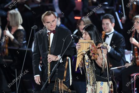 Stock Picture of Andrea Griminelli and Leo Rojas perform in the Paul VI Hall at the Vatican during the Christmas concert