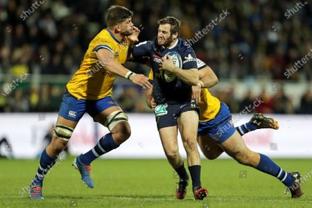 ASM Clermont Auvergne vs Bath Rugby. Clermont's Camille Lopez and Mike Williams and Jamie Roberts of Bath