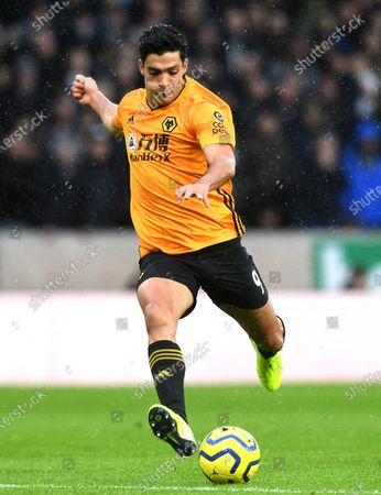 Wolverhampton Wanderers' Raul Jimenez in action during the English Premier League soccer match between Wolverhampton Wanderers  and Tottenham Hotspur at Molineux Stadium in Wolverhampton, Britain, 15 December 2019.