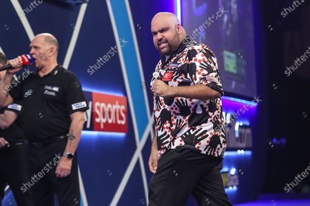 Stock Picture of Kyle Anderson hits a double and wins a leg during the PDC William Hill World Darts Championship at Alexandra Palace, London