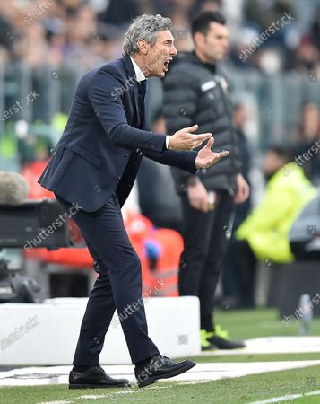 Udinese's coach Luca Gotti reacts during the Italian Serie A soccer match Juventus FC vs Udinese Calcio at the Allianz Stadium in Turin, Italy, 15 December 2019.