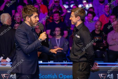 Andy Goldstein talks to the runner up Jack Lisowski at the World Snooker 19.com Scottish Open Final Mark Selby vs Jack Lisowski at the Emirates Arena, Glasgow