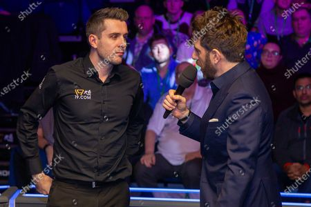 Stock Image of Andy Goldstein talks to the 2019 Scottish Open champion Mark Selby at the World Snooker 19.com Scottish Open Final Mark Selby vs Jack Lisowski at the Emirates Arena, Glasgow