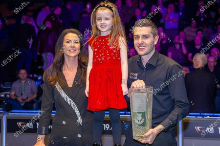 Stock Image of The 19.com World Snooker Scottish Open Champion 2019 Mark Selby, alongside his partner Vikki & his daughter Sofia with the Stephen Hendry Trophy following his win at the World Snooker 19.com Scottish Open Final Mark Selby vs Jack Lisowski at the Emirates Arena, Glasgow