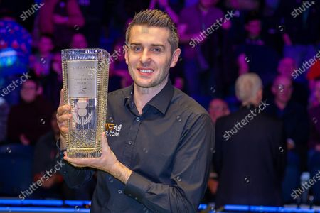 Stock Picture of The 19.com World Snooker Scottish Open Champion 2019 Mark Selby holds the Stephen Hendry Trophy following his win at the World Snooker 19.com Scottish Open Final Mark Selby vs Jack Lisowski at the Emirates Arena, Glasgow
