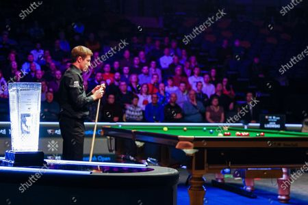 The Stephen Hendry Scottish Open Trophy on display during the opening frames of the World Snooker 19.com Scottish Open Final Mark Selby vs Jack Lisowski at the Emirates Arena, Glasgow